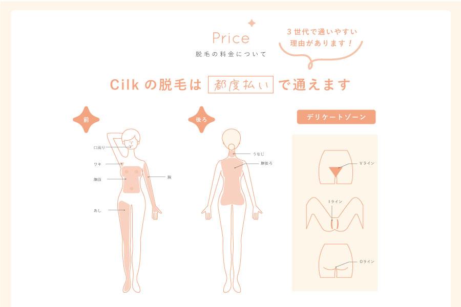 三河安城駅北口 脱毛&腸活サロンCilk(シルク)の料金表